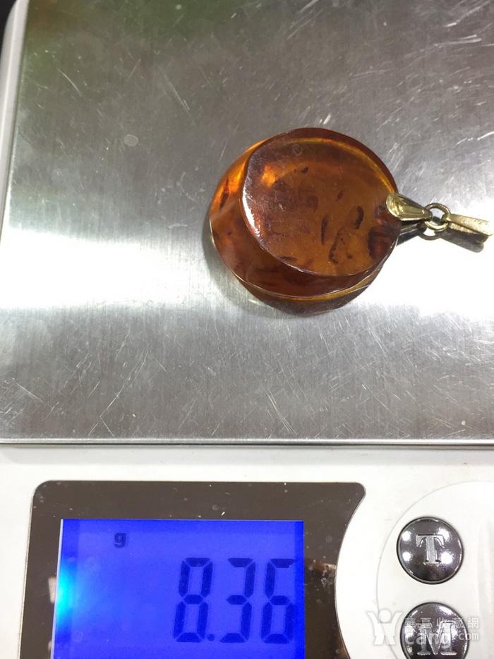 8126俄罗斯银鎏金扣头琥珀坠子图8