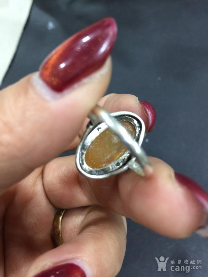 8128欧洲回流银嵌琥珀戒指图5