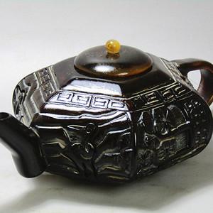 民国 角质 延年益寿拼镶六角壶摆件 手工雕刻制作