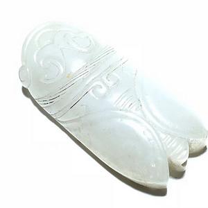 明 和田白玉籽料 一级羊脂白 知了 挂件 手工雕刻 工艺精美 细节拿捏