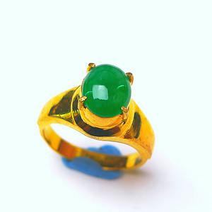 金牌 冰润辣绿蛋面镶铜戒指