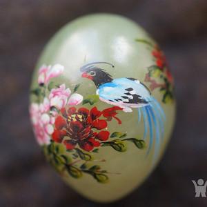 创汇期手绘花鸟玉蛋