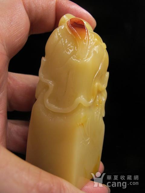 回流精品 寿山珍品鸡油黄芙蓉石荷花大印章图6
