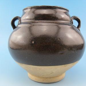 68.金元 黑釉葫芦双系罐