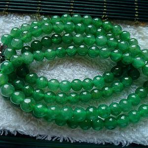 金牌 冰润满绿圆珠项链