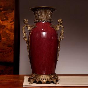 藏海淘 专家已鉴定 清中期开门郎红包铜大赏瓶 C059