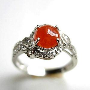 豪镶46锆钻完美老坑t冰种天然缅甸A货翡翠红翡纯银戒指