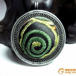 老工艺银镶苗族传统刺绣吊坠!