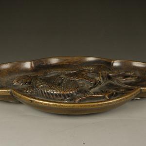 爆老,旧藏,高浮雕龙纹铜盘