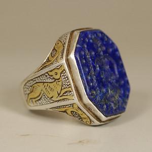 回流旧藏,青金石银戒指,局部鎏金