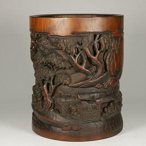 旧藏,乡货  手工雕刻竹子笔筒。