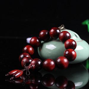联盟 印度小叶紫檀满金星酒红底高油密玻璃底手串