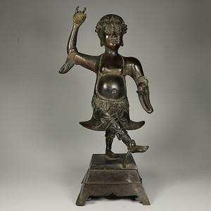 旧藏  精品紫铜降魔天神像
