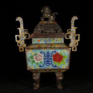 精品旧藏  乡货景泰蓝如意耳狮子绣球高熏炉