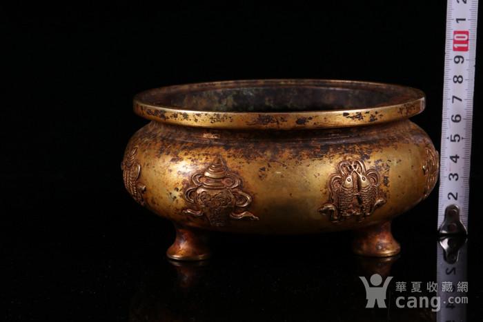 年份十足的精品旧藏  乡货鎏金八宝炉图2