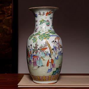 藏海淘 专家已鉴定 晚清五彩侍女图大赏瓶 估价低于售价很多 FA939