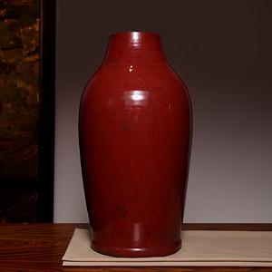 海淘阁 清开门红釉大花瓶 已经鉴定 FA940