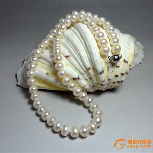 天然淡水珍珠强荧光白色珍珠项链!