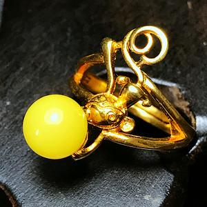 满蜜柠檬黄!波罗的海天然蜜蜡完美正圆纯银镀18K黄金戒指