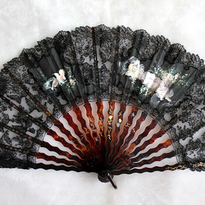 19世纪戴帽天使大扇子