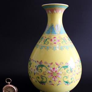 清光绪黄釉粉彩玉壶春瓶