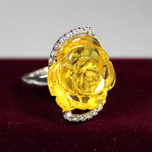 金珀 玫瑰花纯银戒指