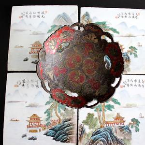回流民国瓷板一套铜供盘