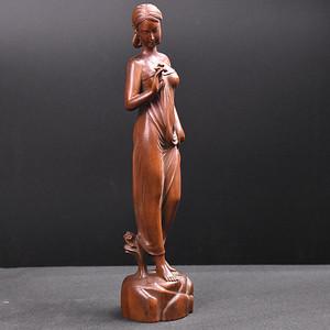 联盟 旧藏小叶黄杨木雕美女人物摆件