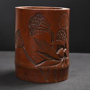 联盟 旧藏碳化竹料莲子笔筒