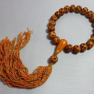 藏区镂空雕老珠二十一颗佛珠手持!