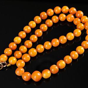 欧美回流 漂亮老蜜蜡圆珠项链