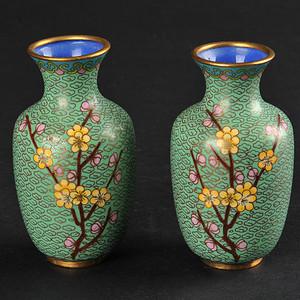 欧美回流 漂亮景泰蓝花卉纹小瓶一对