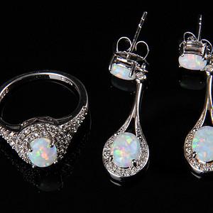 欧美回流 漂亮欧珀纯银戒指与耳坠