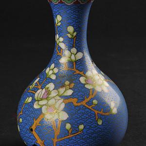 欧美回流 漂亮蓝地铜胎掐丝珐琅花卉纹瓶