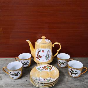 70年代文革粉彩龙纹九头茶具