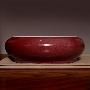 藏海淘 单色釉红釉大瓷洗 C196