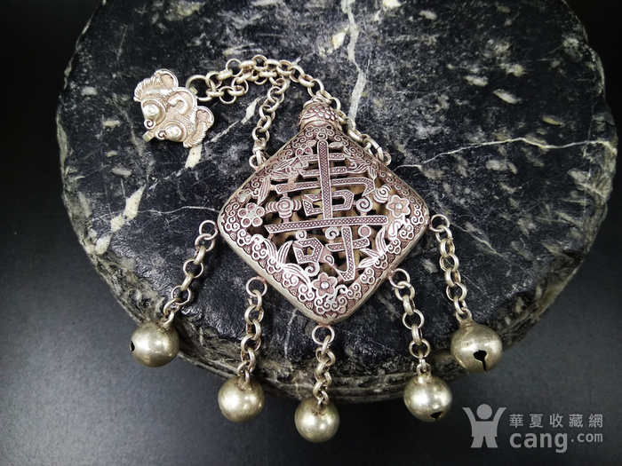 精品 清代老银 福祷纹香曩 挂饰图1