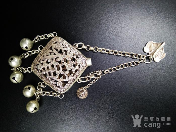 精品 清代老银 福祷纹香曩 挂饰图4