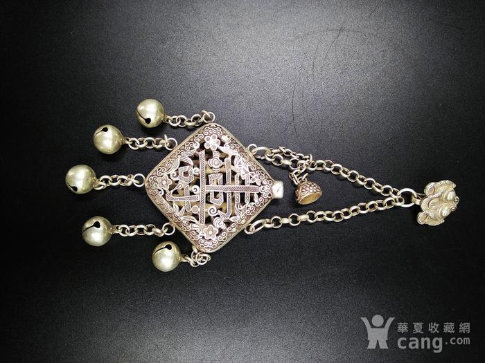 精品 清代老银 福祷纹香曩 挂饰图5