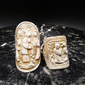 清代银饰 人物纹指环