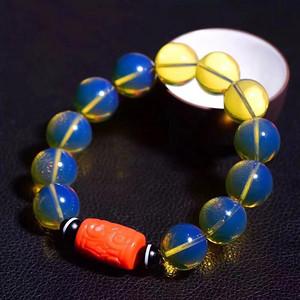 联盟  顶级多米尼加天空蓝手链与珊瑚桶珠的完美搭配