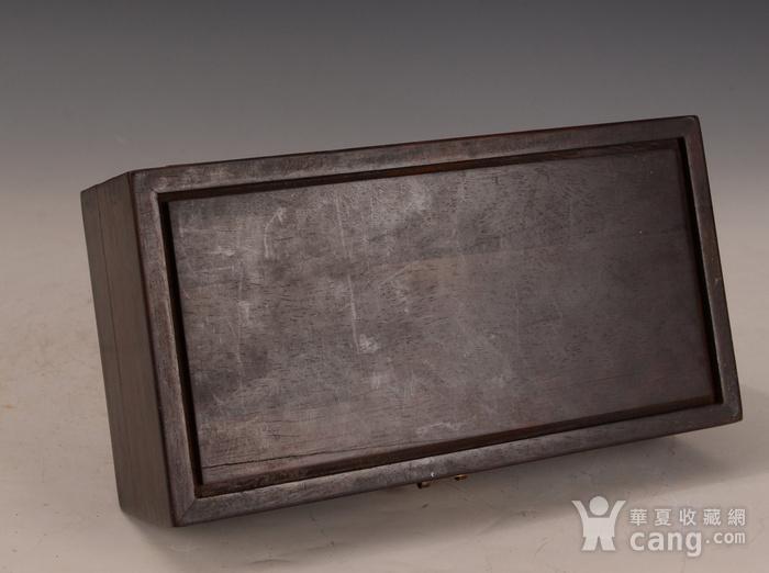 欧洲回流紫檀嵌竹黄雕花卉盒图4