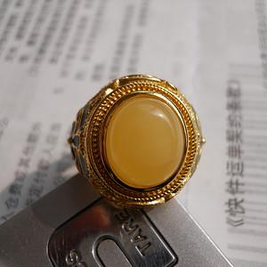 蜜蜡复古戒指925银托