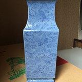 清中期蓝上兰 鹤舞九天 方瓶