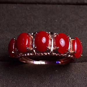 联盟 纯天然牛血珊瑚戒指