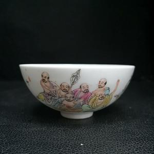 70年代景德镇艺术瓷厂粉彩十八罗汉杯