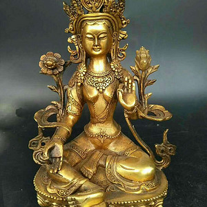 精美铜绿度母佛