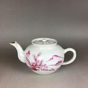 民国胭脂红山水大茶壶