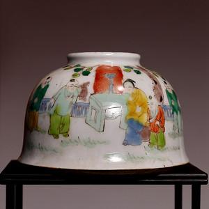 藏海淘 婴戏粉彩人物瓷罐 C214