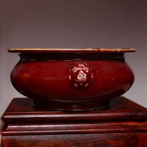 藏海淘 单色釉红釉双狮耳瓷香炉 C225